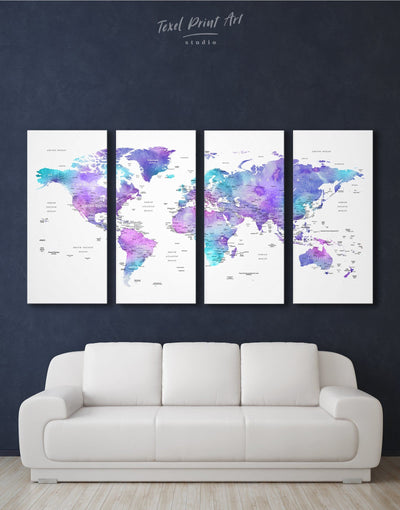 4 Pieces Modern World Map Wall Art Canvas Print - 4 Panels bedroom Blue blue and white Blue wall art for living room