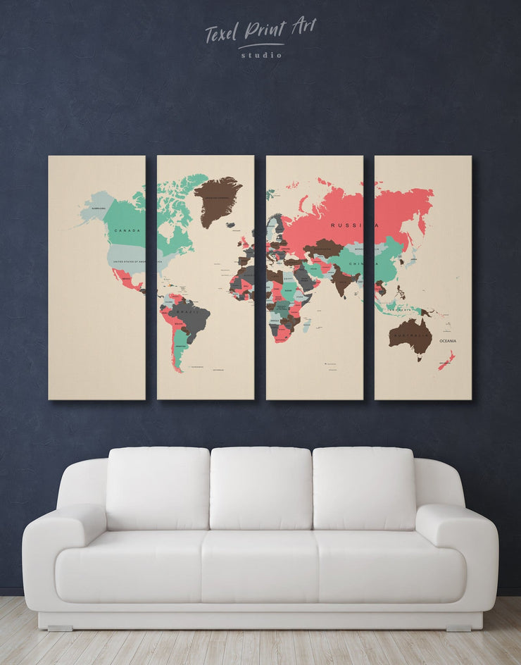 4 Pieces Multicolor World Map Wall Art Canvas Print - 4 Panels Abstract Abstract map bedroom brown