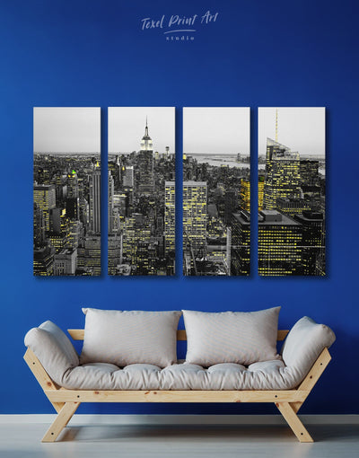 4 Pieces New York City Wall Art Canvas Print - 4 Panels bedroom black and white wall art City Skyline Wall Art Cityscape