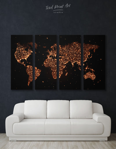 4 Pieces Night World Map Wall Art Canvas Print - 4 Panels Abstract map bedroom black Gilded world map wall art
