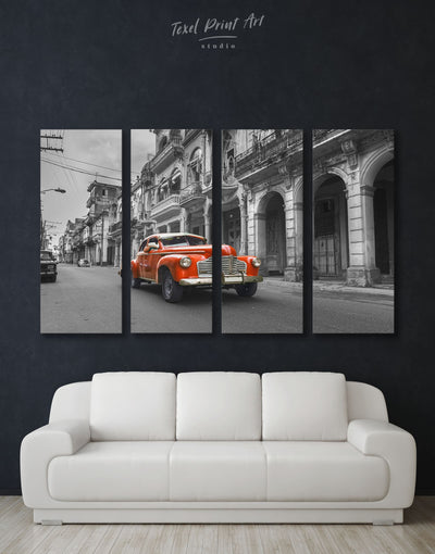 4 Pieces Old Car Wall Art Canvas Print - 4 Panels Car garage wall art Hallway Living Room
