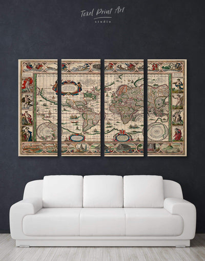 4 Pieces Old World Map Wall Art Canvas Print - 4 Panels Antique Antique world map canvas bedroom Living Room