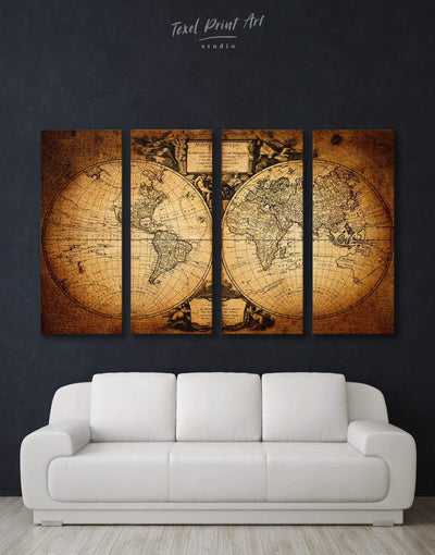 4 Pieces Old World Map Wall Art Canvas Print - 4 Panels Antique world map canvas bedroom Brown double hemisphere world map
