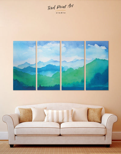 4 Pieces Ombre Mountains Wall Art Canvas Print - 4 Panels bedroom blue and green wall art landscape wall art Living Room