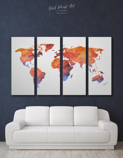 4 Pieces Orange World Map Wall Art Canvas Print - 4 Panels Abstract map corkboard geometric world map Living Room
