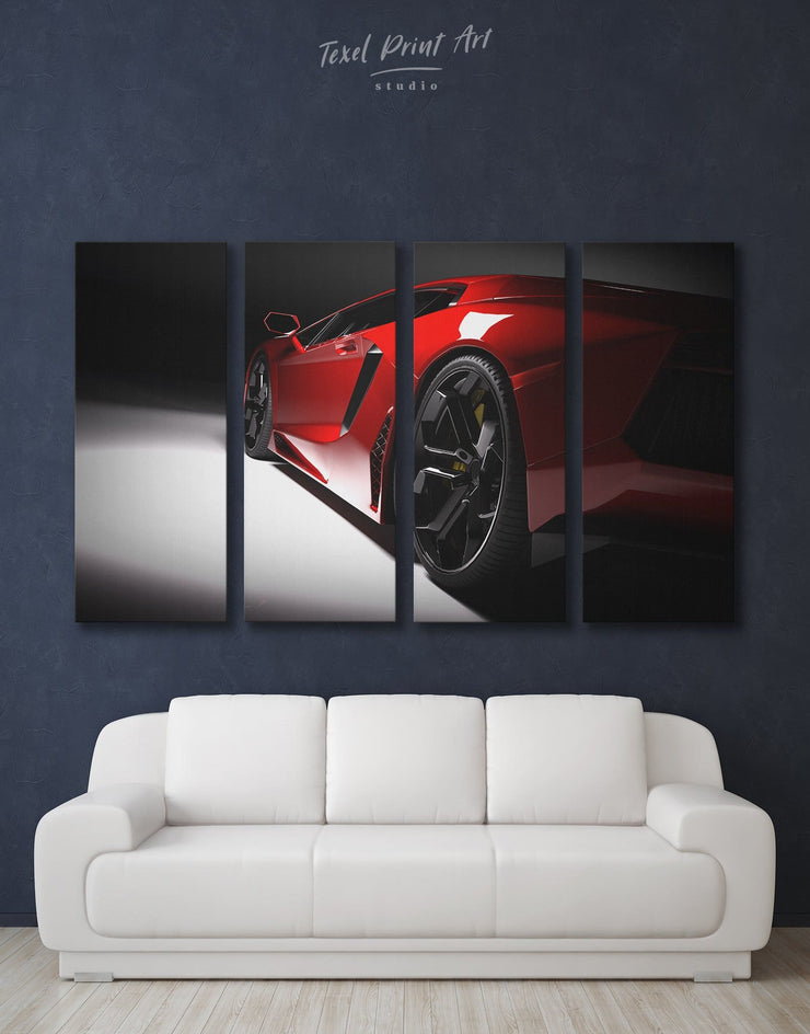 4 Pieces Original Sports Car Wall Art Canvas Print - 4 Panels bachelor pad bedroom Black Car