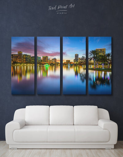 4 Pieces Orlando Cityscape Wall Art Canvas Print - 4 Panels bedroom City Skyline Wall Art Cityscape Dining room