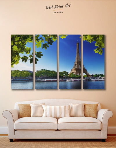 4 Pieces Paris Wall Art Canvas Print - 4 Panels bedroom Cityscape eiffel tower wall art french wall art
