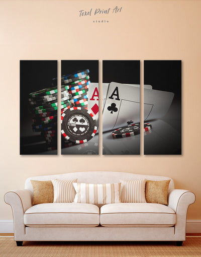 4 Pieces Poker Wall Art Canvas Print - 4 Panels game room Hallway Living Room Poker
