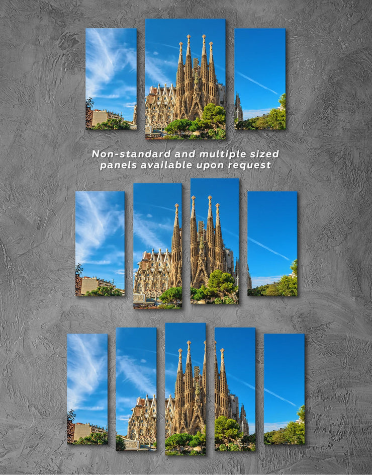 4 Pieces Sagrada Familia Print Canvas - Canvas Wall Art 4 Panels bedroom Blue City Skyline Wall Art Cityscape
