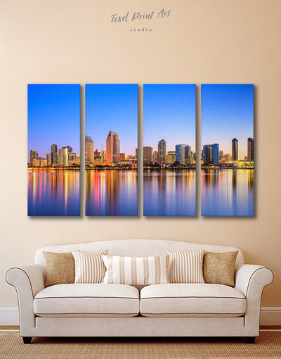 4 Pieces San Diego California Wall Art Canvas Print - 4 Panels bedroom City Skyline Wall Art Cityscape dining room wall art