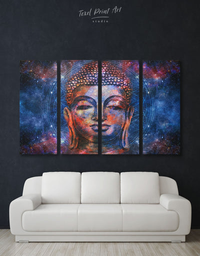 4 Pieces Space Buddha Wall Art Canvas Print - 4 Panels bedroom Blue Buddha wall art buddhist wall art