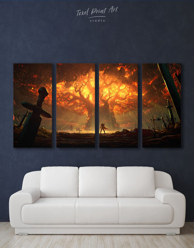 4 Pieces Teldrassil Battle For Azeroth Wall Art Canvas Print - Canvas Wall Art 4 Panels bachelor pad bedroom Hallway Living Room