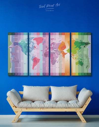 4 Pieces Time Zones Map Of The World Wall Art Canvas Print - 4 Panels Abstract Abstract map Contemporary Green