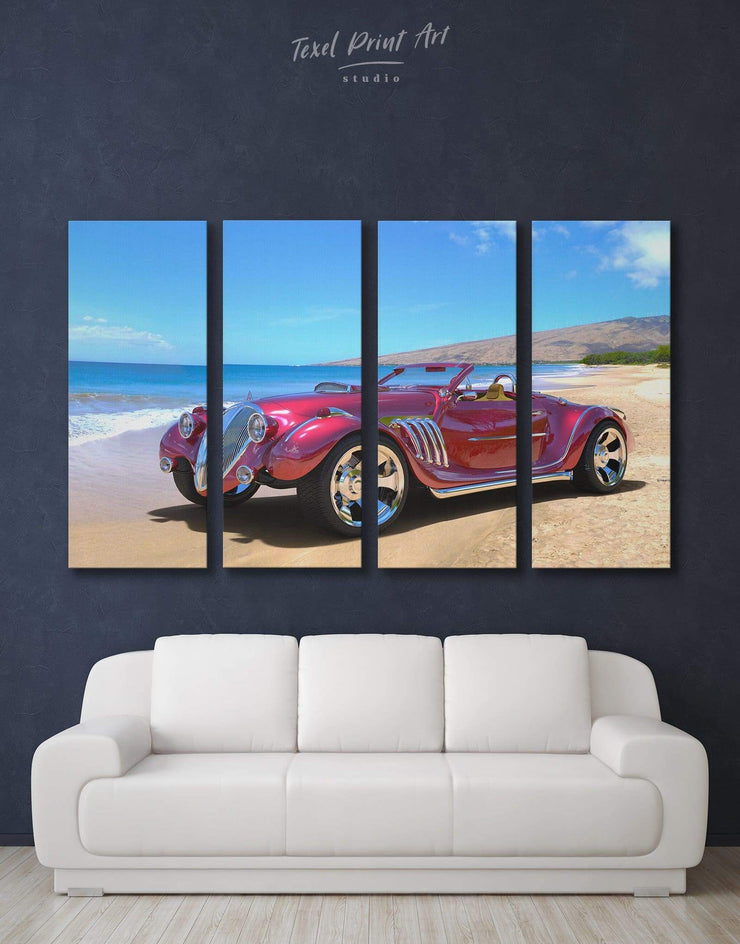 4 Pieces Vintage Car Wall Art Canvas Print - 4 Panels bachelor pad bedroom blue car