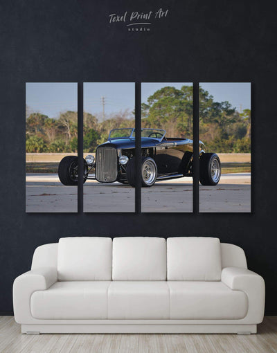 4 Pieces Vintage Car Wall Art Canvas Print - 4 Panels bachelor pad Car garage wall art manly wall art