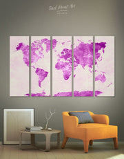 4 Pieces Violet World Map Wall Art Canvas Print