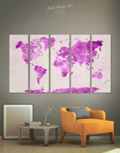 4 Pieces Violet World Map Wall Art Canvas Print - 4 Panels Abstract Abstract map bedroom Living Room