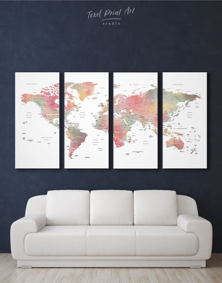 4 Pieces Watercolor Push Pin Map Wall Art Canvas Print - 4 Panels bedroom contemporary wall art Green map of the world labeled