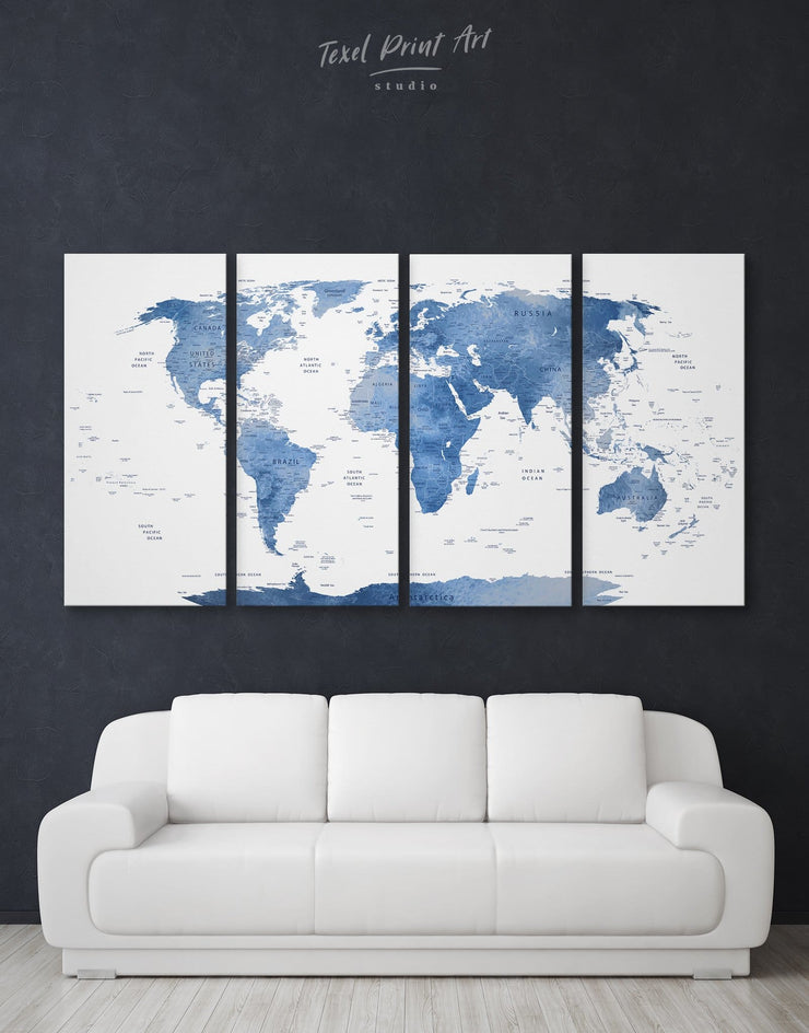 4 Pieces White and Blue World Map Wall Art Canvas Print - 4 Panels bedroom Blue blue and white Blue wall art for living room