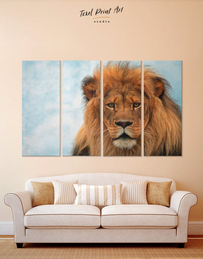 4 Pieces Wild Lion Wall Art Canvas Print - 4 Panels Animal Animals Hallway lion wall art