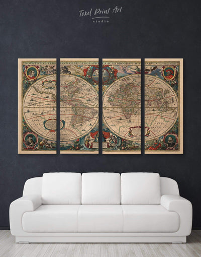 4 Pieces World Map Antique Wall Art Canvas Print - 4 Panels Antique Antique world map canvas bedroom Brown