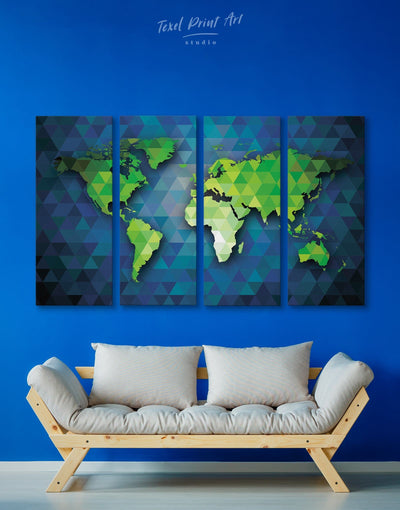 4 Pieces World Map Geometric Wall Art Canvas Print - 4 Panels Abstract Abstract map bedroom blue and green wall art