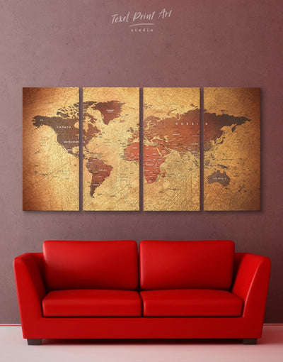 4 Pieces World Map Wall Art Canvas Print - 4 Panels bedroom Brown Living Room Rustic