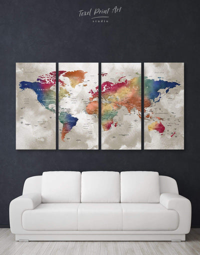 4 Pieces World Map with Cities Wall Art Canvas Print - 4 Panels bedroom Blue brown contemporary wall art