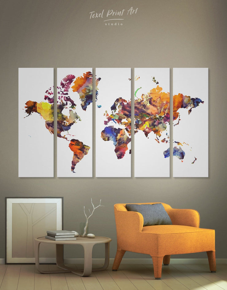 5 Panel Abstract Map Wall Art Canvas Print - 5 panels Abstract Abstract map abstract world map wall art bedroom