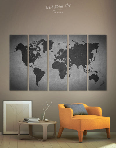 5 Panel Abstract World Map Wall Art Canvas Print - 5 panels Abstract Abstract map abstract world map wall art black and grey wall art