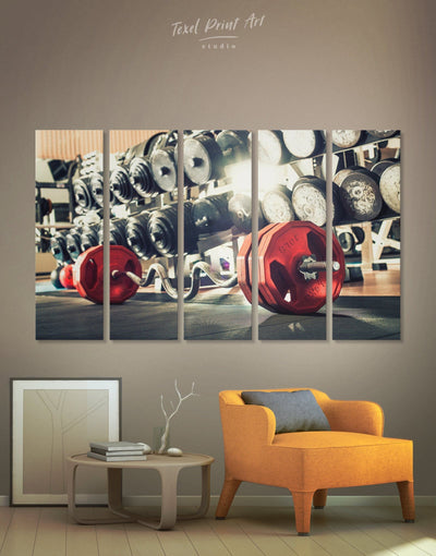 5 Panel Barbell Fitness Wall Art Canvas Print - 5 panels Home Gym Living Room Motivational Sports
