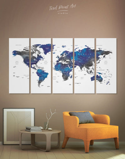 5 Panel Blue and Grey World Map Wall Art Canvas Print - 5 panels bedroom blue and gray wall art Blue wall art for living room Office Wall