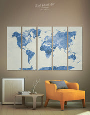 5 Panel Blue Map Wall Art Canvas Print