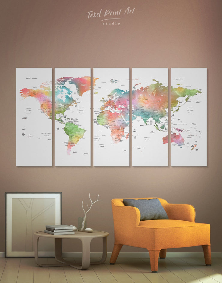 5 Panel Detailed Watercolor Map Wall Art Canvas Print - 5 panels Labeled world map Living Room Office Wall Art Push pin travel map