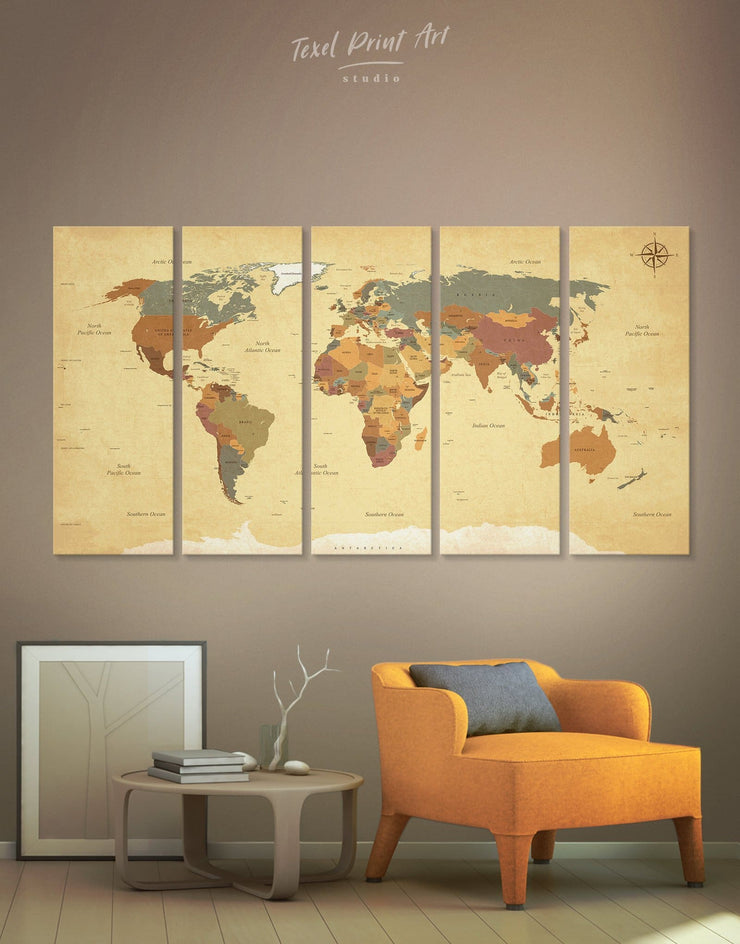 5 Panel Detailed World Map Wall Art Canvas Print - 5 panels Living Room map of the world labeled Office Wall Art Push pin travel map