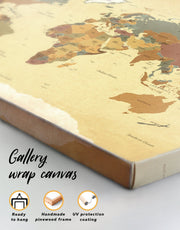5 Panel Detailed World Map Wall Art Canvas Print