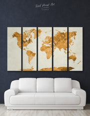 5 Panel Gold World Map Wall Art Canvas Print