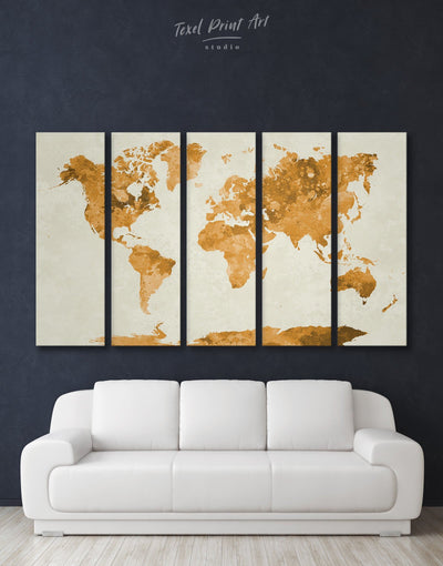 5 Panel Gold World Map Wall Art Canvas Print - 5 panels Abstract Map Gilded world map wall art Gold gold world map