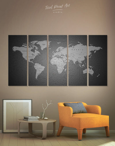 5 Panel Grey World Map Wall Art Canvas Print - 5 panels black and grey wall art black and silver wall art Contemporary contemporary wall art