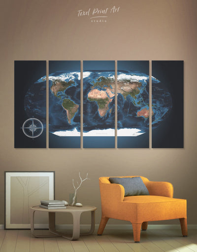 5 Panel Hemisphere World Map Wall Art Canvas Print - 5 panels Blue blue wall art for bedroom Blue wall art for living room Living Room