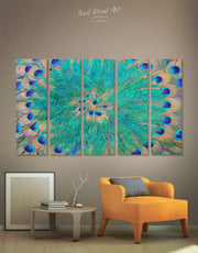 5 Panel Peacock Feathers Wall Art Canvas Print