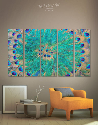 5 Panel Peacock Feathers Wall Art Canvas Print - 5 panels Abstract Blue Abstract Wall art Blue wall art for living room Feather Wall Art
