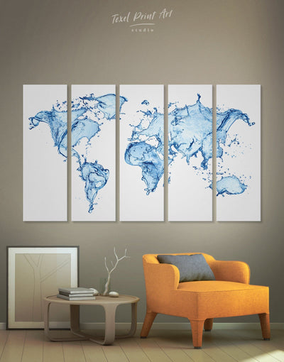 5 Panel Water Map Wall Art Canvas Print - 5 panels Abstract Abstract map abstract world map wall art aqua wall art