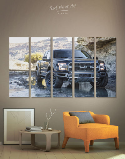 5 Panels 2017 Ford F-150 Raptor Wall Art Canvas Print - 5 panels bachelor pad Car garage wall art manly wall art
