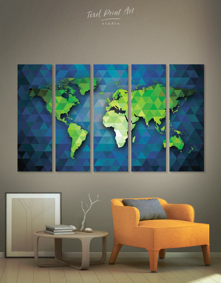 5 Panels Abstract Green and Blue Map Wall Art Canvas Print - 5 panels Abstract Abstract map bedroom blue and green wall art
