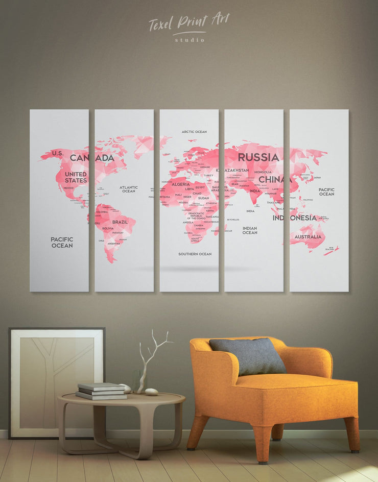 5 Panels Abstract Pink Map Wall Art Canvas Print - 5 panels Abstract Abstract map abstract world map wall art bedroom