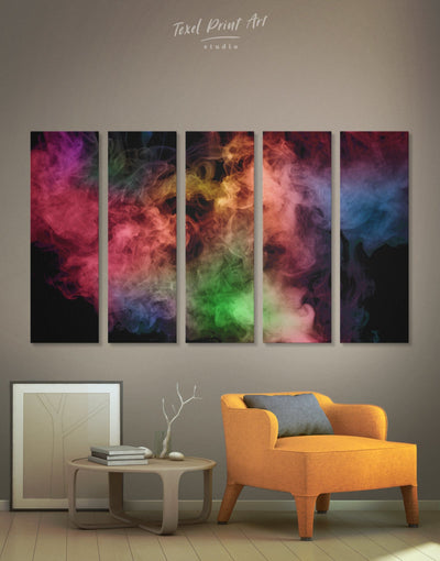 5 Panels Abstract Smoke Wall Art Canvas Print - 5 panels Abstract bedroom Black Contemporary