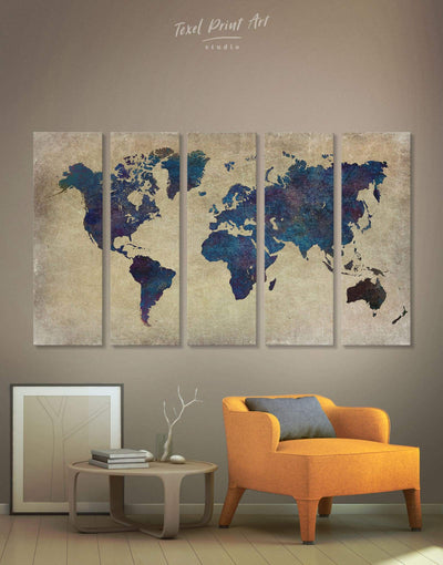 5 Panels Abstract World Map Wall Art Canvas Print - 5 panels Abstract Abstract map bedroom Blue