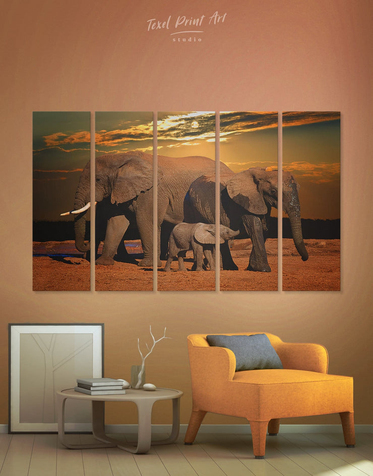 5 Panels African Elephants Wall Art Canvas Print - 5 panels Animal Animals bedroom Brown